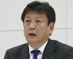 FILE - In this April 3, 2017, file photo, Tokyo Electric Power Co. (TEPCO) President Tomoaki Kobayakawa speaks during a press conference at its headquarters in Tokyo. Kobayakawa, who met Fukushima Gov. Masao Uchibori at the governor's office on Thursday, June 14, 2018, announced a plan that TEPCO was considering dismantling four reactors at the Fukushima Dai-ni, or No. 2, nuclear power plant, which has never restarted since the 2011 disaster. If Fukushima No. 2 were to be scrapped, the number of workable reactors in Japan would fall to 35, down from 54 before the disaster. AP Photo/Koji Sasahara, File)