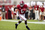 Alabama running back Trey Sanders (6) breaks loose against Mercer during the first half of an NCAA college football game, Saturday, Sept. 11, 2021, in Tuscaloosa, Ala. (AP Photo/Vasha Hunt)