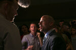 Michael Avenatti  with reporters after his speech at the Iowa Democratic Wing Ding at the Surf Ballroom in Clear Lake, Iowa, Friday, Aug. 10, 2018. Avenatti, the self-styled provocateur taking on the president on behalf of porn actress Stormy Daniels, has a message for Iowa Democrats: His foray into presidential politics is no stunt. (Chris Zoeller/Globe-Gazette via AP)