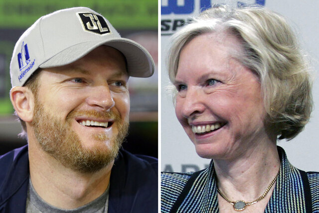 FILE - From left are file photos showing Dale Earnhardt Jr., in 2017, and Janet Guthrie, in 2006. Earnhardt is among the new nominees for NASCAR's next Hall of Fame class. Guthrie, the first woman to run in the Indianapolis 500, Daytona 500 and Coca-Cola 600, returns as a nominee to the Landmark category after a one-year absence. (AP Photo/File)