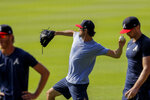 Atlanta Braves' Cole Hamels, throws a ball during team practice at Truist Park on Sunday, July 5, 2020, in Atlanta. (AP Photo/Brynn Anderson)