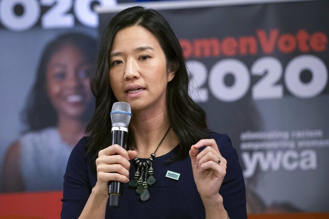 FILE - In this Jan. 29, 2020, file photo, Boston City Councilor Michelle Wu speaks on behalf of the Sen. Elizabeth Warren, D-Mass., presidential campaign in Manchester, N.H. Wu officially announced in a campaign video on Tuesday, Sept. 15, that she is mounting a campaign for mayor of Boston in 2021. (AP Photo/Mary Altaffer, File)
