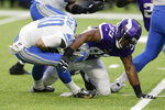 Detroit Lions quarterback David Blough (10) is sacked by Minnesota Vikings defensive end Danielle Hunter (99) during the first half of an NFL football game, Sunday, Dec. 8, 2019, in Minneapolis. (AP Photo/Andy Clayton-King)