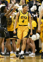 Missouri's Javon Pickett celebrates a basket during the first half of an NCAA college basketball game Vanderbilt Saturday, Feb. 2, 2019, in Columbia, Mo. (AP Photo/L.G. Patterson)