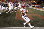 Fresno State Bulldogs running back Ronnie Rivers celebrates scoring a touchdown against the UNLV Rebels during the first half of an NCAA college football game Saturday, Nov. 3, 2018, in Las Vegas. (AP Photo/John Locher)