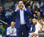 Notre Dame coach Mike Brey calls a play during the team's NCAA college basketball game against Toledo on Thursday, Nov. 21, 2019, in South Bend, Ind. (Michael Caterina/South Bend Tribune via AP)