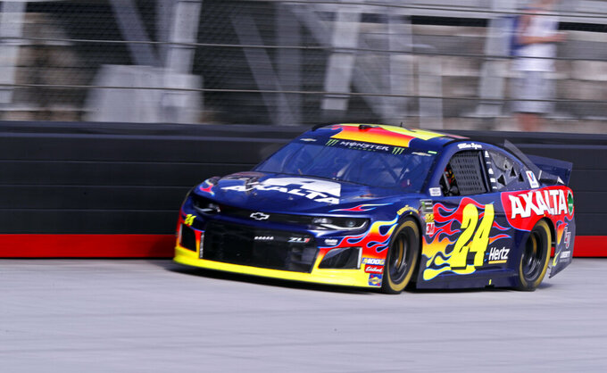 Driver William Byron (24) makes his way down the back stretch during practice for a NASCAR Cup Series auto race, Saturday, April 6, 2019, in Bristol, Tenn. (AP Photo/Wade Payne)