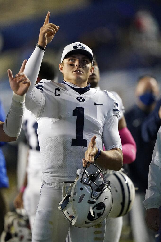 BYU quarterback Zach Wilson (1) looks on following their NCAA college football game against Western Kentucky Saturday, Oct. 31, 2020, in Provo, Utah. (AP Photo/Rick Bowmer, Pool)