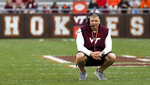Virginia Tech coach Justin Fuente watches during the NCAA college football team's Maroon-White spring game in Blacksburg, Va., Saturday, April 13, 2019. (Matt Gentry/The Roanoke Times via AP)
