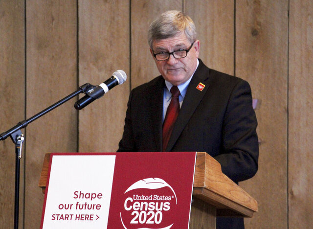 U.S. Census Bureau Director Steven Dillingham addresses state and Alaska Native leaders Friday, Jan. 17, 2020, in Anchorage, Alaska. Dillingham will travel to Toksook Bay, on an island just off Alaska's western coast, for the first count on Tuesday, Jan. 21, 2020. (AP Photo/Mark Thiessen)