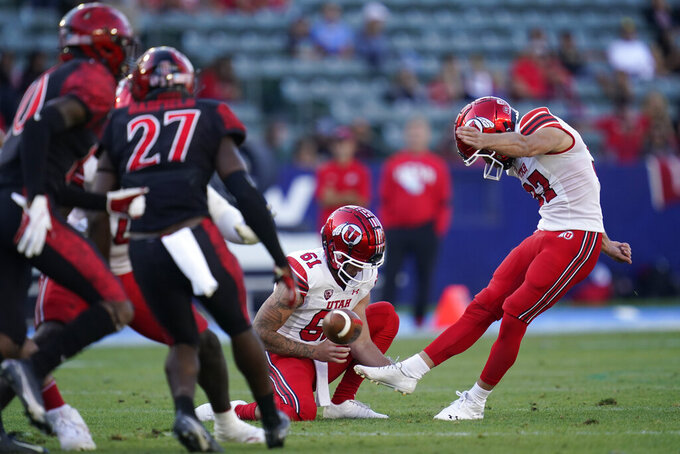 Utah place kicker Jadon Redding (97) kicks a field goal during the first half of an NCAA college football game against San Diego State Saturday, Sept. 18, 2021, in Carson, Calif. (AP Photo/Ashley Landis)