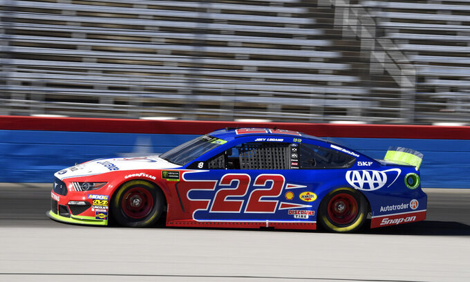 Joey Logano heads down the front stretch during practice for the NASCAR Cup Series auto race at Texas Motor Speedway in Forth Worth, Texas, Friday, Nov. 1, 2019. (AP Photo/Larry Papke)