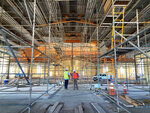 """The interior of the St. Charles Borromeo Catholic Church construction site in Visalia, Calif., on Thursday, Aug. 26, 2021. It's billed as the largest Catholic parish in the United States and it's being constructed about 200 miles north of Los Angeles, in what's often referred to """"as the heart of California's dairy industry."""" (Alejandra Molina/RNS via AP)"""
