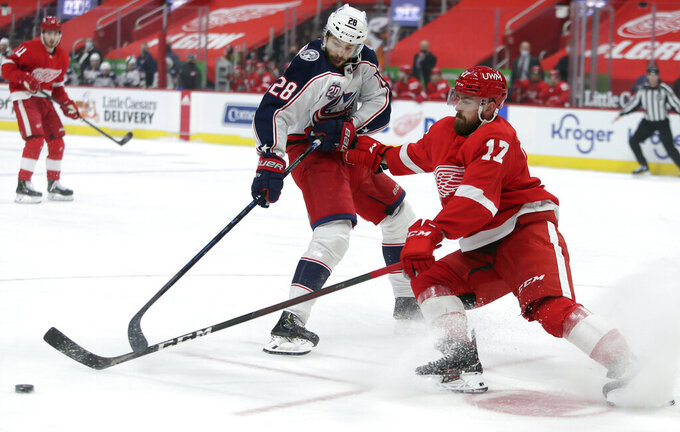 Detroit Red Wings defenseman Filip Hronek (17) steals the puck from Columbus Blue Jackets right wing Oliver Bjorkstrand (28) during the first period of an NHL hockey game Tuesday, Jan. 19, 2021, in Detroit. (AP Photo/Duane Burleson)