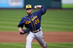Milwaukee Brewers starting pitcher Brett Anderson throws during the second inning of a baseball game against the St. Louis Cardinals Sunday, Sept. 27, 2020, in St. Louis. (AP Photo/Jeff Roberson)