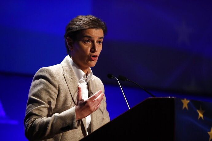 """FILE - In this Tuesday, Oct. 29, 2019 file photo, Ana Brnabic speaks during the fourth EU-Arab World Summit in Athens. Serbia's prime minister-designate said Wednesday, Oct. 28, 2020 her new government will be pro-European but will also maintain """"friendly'' relations with Russia and China. Ana Brnabic made the comments in an address to parliament, which is to approve Serbia's new government dominated by allies of autocratic President Aleksandar Vucic. (AP Photo/Thanassis Stavrakis, file)"""