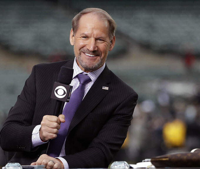 "FILE - In this Thursday, Oct. 19, 2017 file photo, NFL broadcaster Bill Cowher speaks on set before an NFL football game between the Oakland Raiders and the Kansas City Chiefs in Oakland, Calif.  Next to seeing the Pittsburgh Steelers get back to the Super Bowl, Sunday's matchup has many personal ties for CBS ""The NFL Today"" analyst Bill Cowher. The Hall of Fame coach had Tampa Bay coach Bruce Arians on his staff in Pittsburgh and was the defensive coordinator with the Kansas City Chiefs for three seasons.(AP Photo/Marcio Jose Sanchez, File)"
