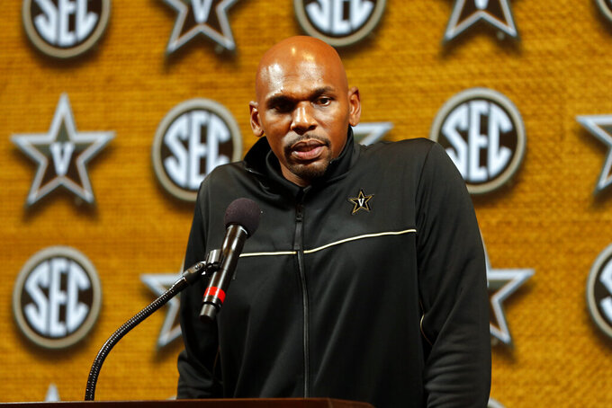Vanderbilt head coach Jerry Stackhouse speaks during the Southeastern Conference NCAA college basketball media day, Wednesday, Oct. 16, 2019, in Birmingham, Ala. (AP Photo/Butch Dill)