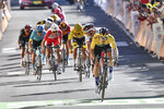 Slovenia's Primoz Roglic leads on his way to win the fourth stage of the Tour de France cycling race over 160,5 kilometers (99,7 miles) with start in Sisteron and finish in Orcieres-Merlette, southern France, Tuesday, Sept.1, 2020. (Anne-Christine Poujoulat, Pool via AP)