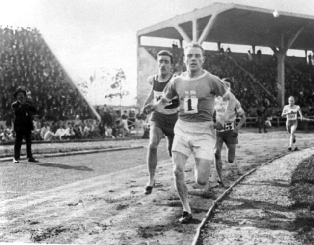 FILE - In this July 1924, file photo, Paavo Nurmi, of Finland, leads the field during a track at the 1924 Olympics in Paris. (AP Photo/File)