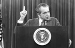 FILE - In this Nov. 17, 1973 file photo, President Richard Nixon speaks near Orlando, Fla. to the Associated Press Managing Editors annual meeting. Nixon told the APME