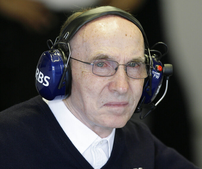 FILE - In this Friday, Sept. 11, 2009 file photo, Williams team principal Frank Williams is seen at the pits during a practice for the Italian Formula One Grand Prix, in Monza, Italy. After more than 40 years running one of Formula One's most storied teams, the Williams family is stepping aside so that its new owners have a clear shot at reviving the team's fortunes, it was announced Thursday, Sept. 3, 2020. Claire Williams, whose father co-founded the Williams F1 team, is stepping down as deputy team principal after this weekend's Italian Grand Prix.(AP Photo/Alberto Pellaschiar, File)