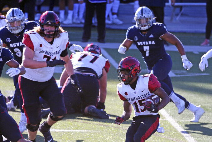 San Diego State running back Jordan Byrd (15) runs against Nevada the second half of an NCAA college football game Saturday, Nov. 21, 2020, in Reno, Nev. (AP Photo/Lance Iversen)