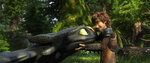 This image released by Universal Pictures shows characters Toothless, left, and Hiccup, voiced by Jay Baruchel, in a scene from DreamWorks Animation's