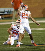 Clemson's B.T. Potter watches his 52-yard field goal at the end of the first half against Wake Forest in an NCAA college football game Saturday, Sept. 12, 2020, in Winston-Salem, N.C. (Walt Unks/The Winston-Salem Journal via AP)