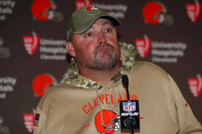 FILE - In this Sunday, Nov. 3, 2019, file photo, Cleveland Browns head coach Freddie Kitchens speaks after an NFL football game against the Denver Broncos, in Denver. Cleveland dropped its fourth straight game Sunday, losing 24-19 to the Broncos. (AP Photo/David Zalubowski, FIle)