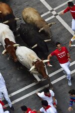 Revellers run next to fighting bulls during the running of the bulls at the San Fermin Festival, in Pamplona, northern Spain, Friday, July 12, 2019. Revellers from around the world flock to Pamplona every year to take part in the eight days of the running of the bulls. (AP Photo/Alvaro Barrientos)