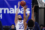 Seton Hall forward Sandro Mamukelashvili (23) goes to the basket over Villanova forward Villanova forward Jeremiah Robinson-Earl (24) during the first half of an NCAA college basketball game, Saturday, Jan. 30, 2021, in Newark, N.J. (AP Photo/Mary Altaffer)