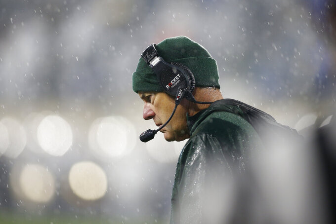 Michigan State coach Mark Dantonio reacts during the second half of an NCAA college football game against Penn State, Saturday, Oct. 26, 2019, in East Lansing, Mich. (AP Photo/Al Goldis)