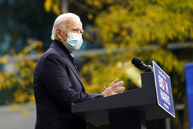 Democratic presidential candidate former Vice President Joe Biden speaks at United Food & Commercial Workers Union Local 951 in Grand Rapids, Mich., Friday, Oct. 2, 2020. (AP Photo/Andrew Harnik)