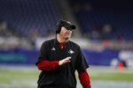 Northern Illinois head coach Rod Carey reacts during the first half of the Mid-American Conference championship NCAA college football game against Buffalo, Friday, Nov. 30, 2018, in Detroit. (AP Photo/Carlos Osorio)