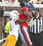 Mississippi wide receiver DaMarkus Lodge (5) catches a touchdown pass over Louisiana Monroe cornerback Corey Straughter (21) during the first half of an NCAA college football game in Oxford, Miss., Saturday, Oct. 6, 2018. (AP Photo/Thomas Graning)