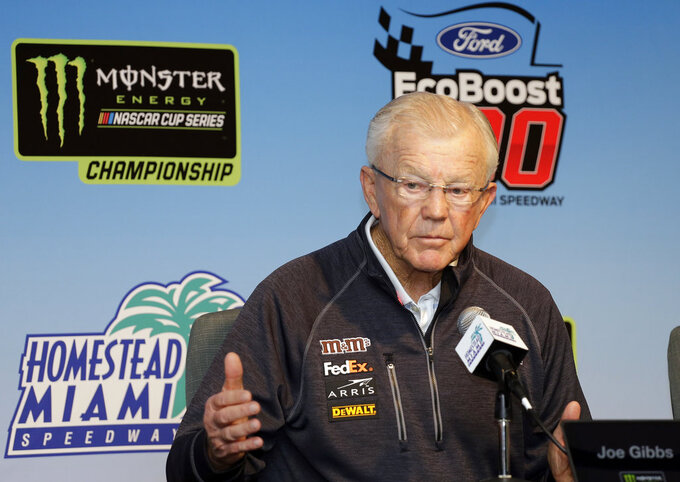 Joe Gibbs, owner of Joe Gibbs Racing, speaks during a news conference for the NASCAR Cup series auto race at the Homestead-Miami Speedway, Friday, Nov. 16, 2018, in Homestead, Fla. (AP Photo/Terry Renna)