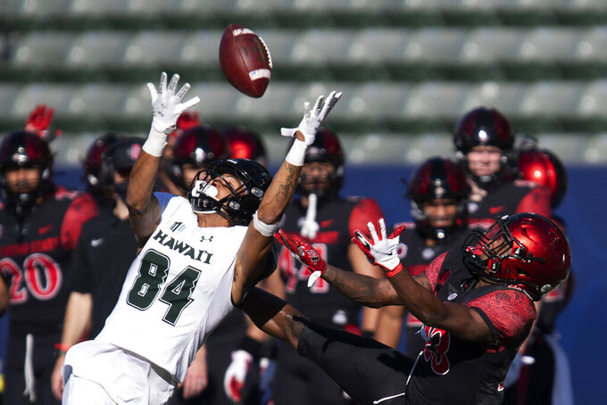 Hawaii wide receiver Nick Mardner, left, reaches to catch the ball in front of San Diego State cornerback Darren Hall during the first half of an NCAA college football game Saturday, Nov. 14, 2020, in Carson, Calif. Mardner did not make the catch. (AP Photo/Kyusung Gong)