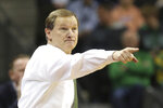 Oregon coach Dana Altman points to the team during the second half of an NCAA college basketball game against Oregon State in Eugene, Ore., Thursday, Feb. 27, 2020. (AP Photo/Chris Pietsch)