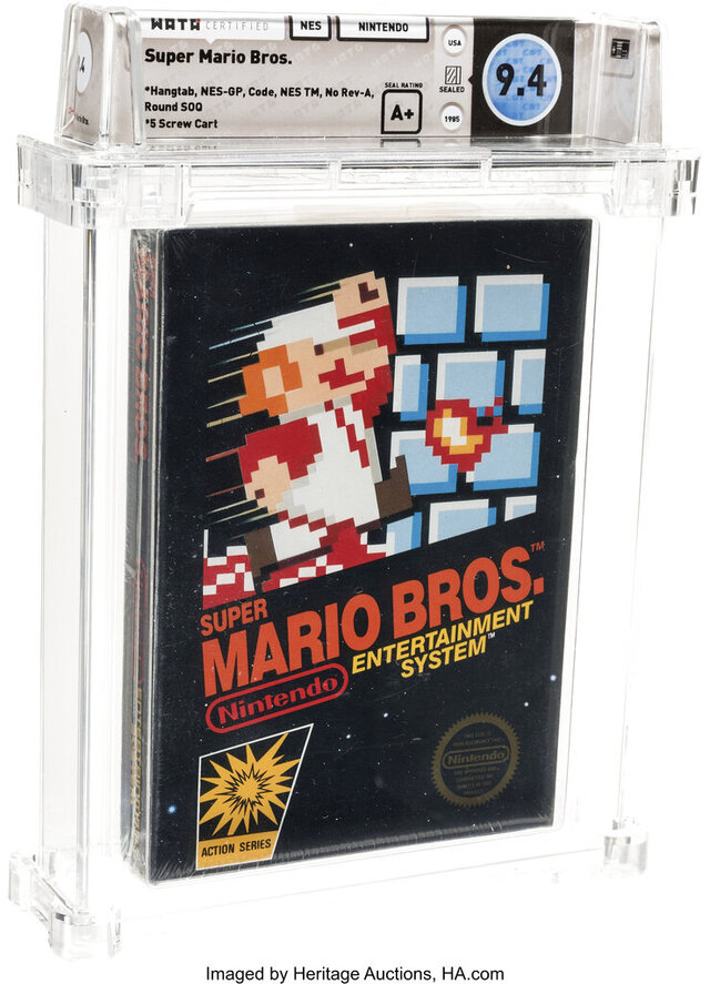 This photo provided by Heritage Auctions on Saturday, July 11, 2020, shows the front of an unopened copy of a vintage Super Mario Bros. video game that has been sold for $114,000 in an auction that underscored the enduring popularity of entertainment created decades earlier. (Emily Clemens/Heritage Auctions via AP)