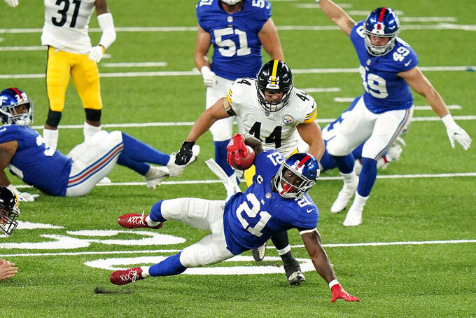 New York Giants free safety Jabrill Peppers (21) runs the ball against the Pittsburgh Steelers during the second quarter of an NFL football game Monday, Sept. 14, 2020, in East Rutherford, N.J. (AP Photo/Frank Franklin II)