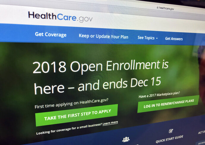 The HealthCare.gov website is photographed in Washington on Dec. 15, 2017.   Millions of people covered under the Affordable Care Act will see only modest premium increases next year, and some will actually get a price cut. That's from an exclusive analysis bound to surprise 'Obamacare' opponents and supporters. The study of state data by Avalere Health and The Associated Press also found that insurers aren't bailing out of the ACA marketplaces anymore; some are coming back. The average premium increase across 47 states and Washington, D.C. will be 3.6 percent in 2019. (AP Photo/Jon Elswick)