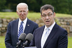 FILE - In this June 10, 2021, file photo President Joe Biden listens as Pfizer CEO Albert Bourla speaks about the Biden administration's global COVID-19 vaccination efforts ahead of the G-7 summit in St. Ives, England. (AP Photo/Patrick Semansky, File)
