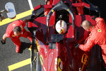 Ferrari driver Sebastian Vettel of Germany is in the pit during the qualification ahead of the Grand Prix of Tuscany, at the Mugello circuit in Scarperia, Italy, Saturday, Sept. 12, 2020. The Formula One Grand Prix of Tuscany will take place on Sunday. (AP Photo/Luca Bruno, Pool)