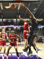 Northwestern center Dererk Pardon (5) dunks the ball against the Indiana during the first half of an NCAA college basketball game Tuesday, Jan. 22, 2019, in Evanston, Ill. (AP Photo/David Banks)