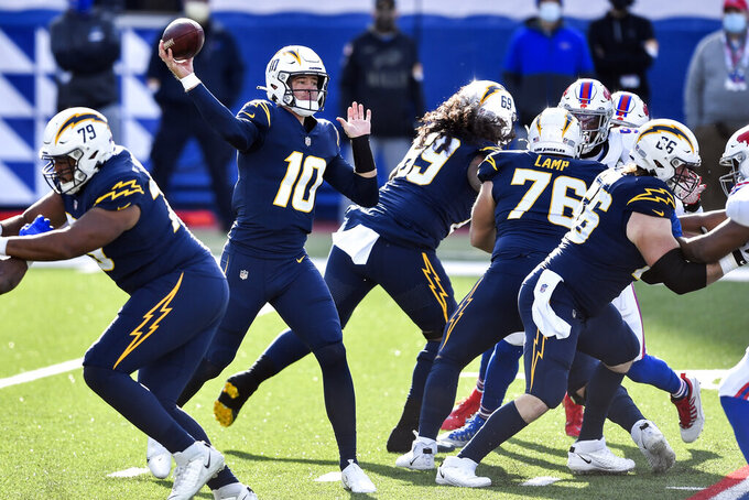 Los Angeles Chargers quarterback Justin Herbert (10) passes during the first half of an NFL football game against the Buffalo Bills, Sunday, Nov. 29, 2020, in Orchard Park, N.Y. (AP Photo/Adrian Kraus)
