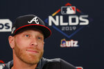 Atlanta Braves starting pitcher Mike Foltynewicz (26) speaks during a news conference Tuesday, Oct. 8, 2019, in Atlanta. The Braves will face the St. Louis Cardinals in Game 5 of the NLCS Wednesday in Atlanta. (AP Photo/John Bazemore)