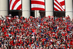 Washington Nationals fans gather on the steps of the National Archives during a parade to celebrate the team's World Series baseball championship over the Houston Astros, Saturday, Nov. 2, 2019, in Washington. (AP Photo/Patrick Semansky)