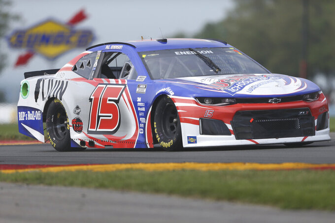 Richard Clayton Enerson drives through the Bus Stop during a NASCAR Cup Series auto race in Watkins Glen, N.Y., on Sunday, Aug. 8, 2021. (AP Photo/Joshua Bessex)