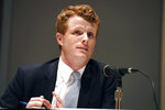 FILE - In this Sept. 14, 2019 file photo, U.S. Rep. Joe Kennedy III, speaks on a panel on race and politics at the Massachusetts Democratic Convention in Springfield, Mass. Kennedy plans to announce on Saturday, Sept. 21, that he will challenge U.S. Sen. Edward Markey, D-Mass., in the 2020 Democratic primary. (AP Photo/Jessica Hill, File)
